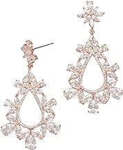 Cubic Zirconia Floral Teardrop Earrings Style ME37041X