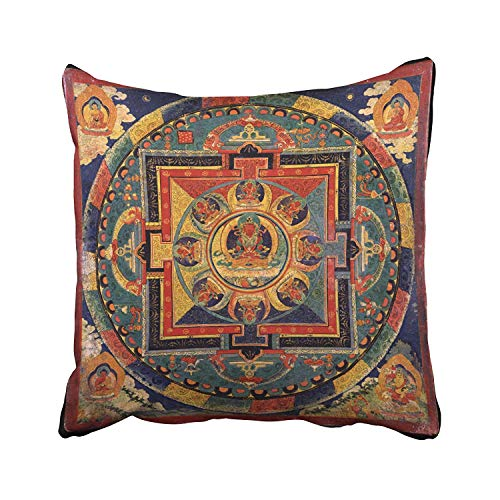 Rdsfhsp Decorative Throw Pillow Cover Square Buddha Mandala Antique Tibetan Thanka Pillowcase with Hidden Zipper Decor Fashion Cushion Gift for Home Sofa Bedroom Couch Car