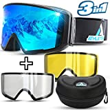 Athletrek Ski & Snowboard Goggles | 3 Unique Magnetic Fast Changing Lenses for All Weather...