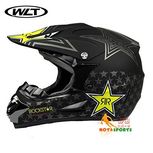 バイクヘルメット オフロード 軽量ヘルメット モンスターエナジー ゴーグル付き星・黒(艶消し)/L