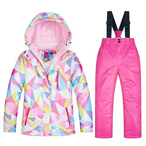 LPATTERN Kinder Jungen/Mädchen Snowboard & Skifahren Bekleidung Zweiteilig Skianzug Schneeanzug Outfit-Set Winddicht Wasserdicht (Skijacke+ Skihose mit Trägern), Mädchen 3+Rosa, 122-128(Label:10)