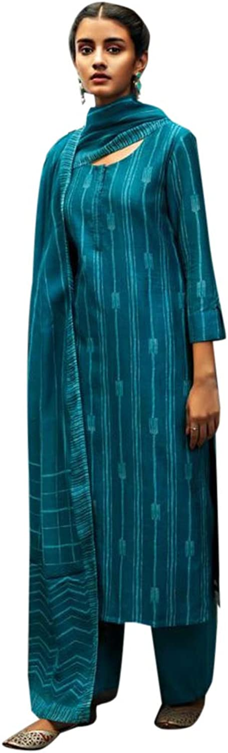 Cerulean Designer Pure Silk Straight Salwar suit with Printed Dupatta for Women Indian Formal Party wear 7703