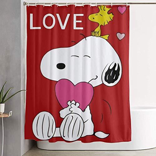 liangchunmei Lustiger Stoff-Duschvorhang Snoopy Love wasserdichtes Badezimmer-Dekor mit Haken 60 x 72 Zoll
