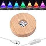 YAKAMOZ LED Lights Display Base,7 Colored Round Wooden Lighted Base Stand for Laser Crystal Glass Resin Art