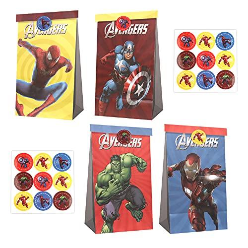 Gxhong The Avengers Sacs de Bonbons en Papier Super Hero Sacs en Papier Spiderman Sacs Cadeaux Multicolore Sacs en Papier Kraft, 12 pièces Pochettes fête d'anniversaire avec 18 Autocollants