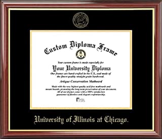 Laminated Visuals University of Illinois at Chicago Flames - Embossed Seal - Mahogany Gold Trim - Diploma Frame