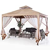 ABCCANOPY 10'x10' Pop up Gazebo Tent with Mosquito Netting Outdoor Instant Gazebo Canopy Shelter (Beige)