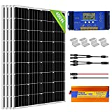 ECO-WORTHY 480W 12V Kit de panel solar fuera de la red: Inversor de seno puro de 1500W 24V + 4 PCS 120W Panel solar + Controlador de cargador de batería 60A para el hogar, barco, RV
