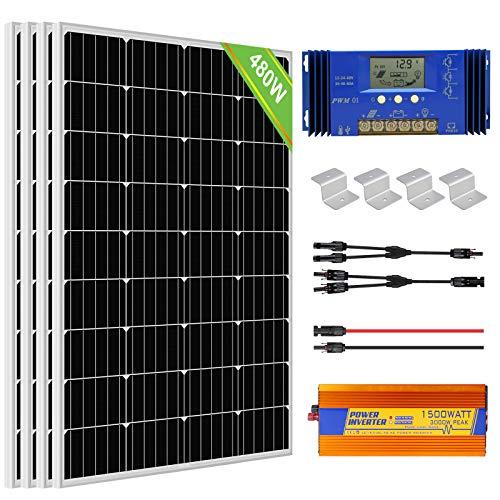 ECO-WORTHY 480W 24V Off Grid Solarmodul Kit: 1500W 24V Wechselrichter + 4 PCS 120W Solarpanel + 60A Batterieladeregler für Home Boot RV