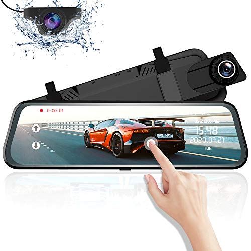 Specchietto Retrovisore Auto Dash Cam Streaming Media Con Schemo da 10 pollici, Dual Lens Dash-Cam con risoluzione 1080P 720P, G-Sensor Registrazione in Loop Monitor di Parcheggio Support GPS