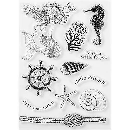MaGuo Ocean Theme Clear Stamps Mermaid Seahorse Starfish Conch Seaweed for DIY Scrapbooking Photo Album Card Making Decorative