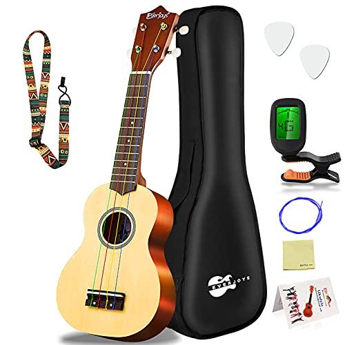 Soprano Ukulele Beginner Pack-21 Inch w/Rainbow String Gig Bag Fast Learn Songbook Digital Tuner All in One Kit
