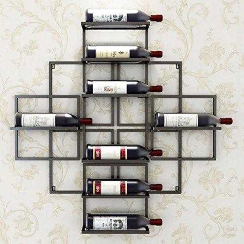 Casier à vin suspendu Étagère à vin suspendue en fer Étagère décorative Pour bars, restaurants, cuisines Brun, noir, or Casier à vin