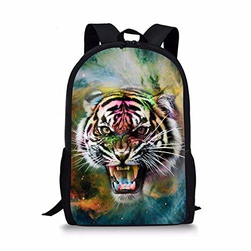 Coloranimal Cool Tiger Head Mochila para niños y niñas Galaxy School Bags