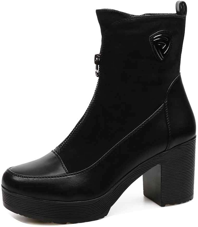 LIURUIJIA Women Leather Genuine Martin Ankle Sheet Short Boots Flat MDX-1088102-4