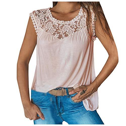 sdfs Las mujeres de encaje de costura sin mangas camiseta de verano casual camisas