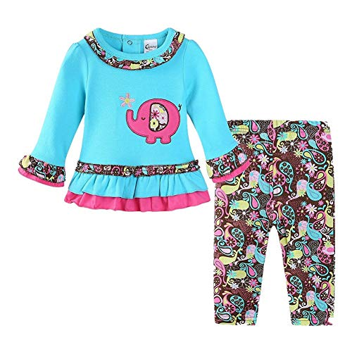 LittleSpring Baby Girls Clothes Elephant Long Sleeve Top and Flower Pants Set Size 24M
