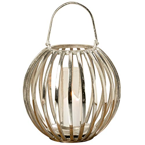 WHW Whole House Worlds Silver Pumpkin Ribbed Candle Lantern, Hand Crafted, Silver Aluminum, Quality Design, Platform Bobeche, 17.75 Inches Diameter