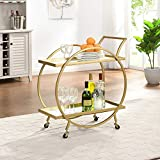 FirsTime & Co. Gold Odessa Bar Cart, American Crafted, Gold, 28 x 14 x 32 ,