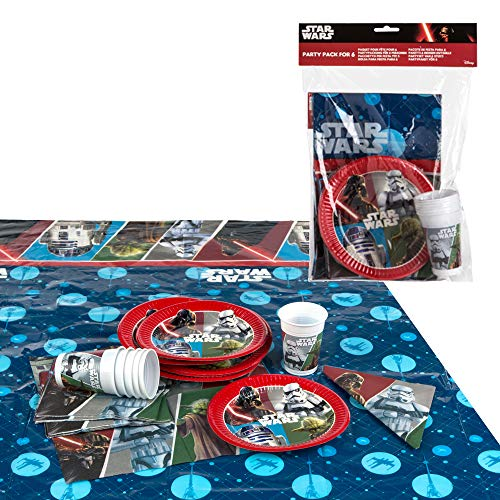 Disney - Pack de fiesta reciclable Star Wars: mantel, platos, vasos, servilletas...