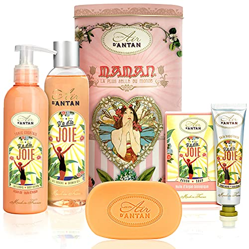 Regalos Mujer: Set JOIE Carrusel 4 productos: 1 gel de ducha 250 ml, 1 crema corporal 200 ml, 1 crema manos 25 ml, un jabón 100 g/Un Air d'Antan/Perfume: El azahar & rosa/Idea regalo/Belleza Mujer