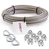 Corda Seilwerk STANKE V4A in acciaio inossidabile, 200m Corda in acciaio 3mm 7x7, 4x ditale in acciaio V4A, 8x fascetta in acciaio V4A - SET 2