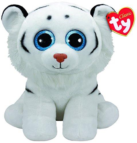 TY T90227 White Tundra, Tiger weiß 42cm, mit Glitzeraugen, Classic