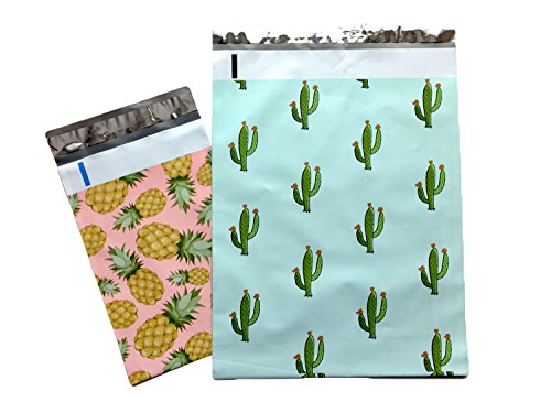 10x13 - Mint Cactus And 6x9 - Cute Pink Pineapple : Designer Printed Poly Mailers Shipping Envelopes Self Sealing Boutique Custom Bags (30 Pcs)