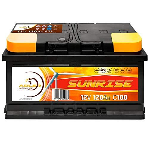 Solarbatterie 12V 120Ah Adler Wohnmobil Verbraucher Boot Wohnwagen Camping Batterie 100Ah