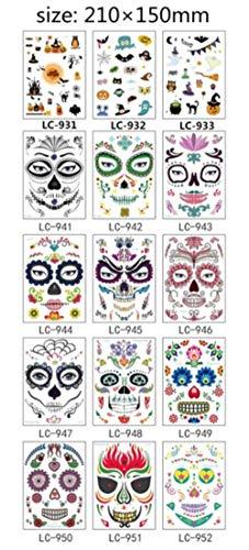 Masque Temporaire De Tatouage Autocollants Jour De La Tête De Mort Crâne Halloween Party Cool Tatouage De Beauté Imperméable À L'eau Corps De Transfert Art, 15pcs LC visage tatouage