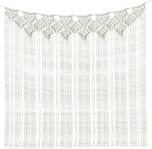 Yesland 99 x 114 cm, macramé grande para colgar en la pared, decoración de pared hecha a mano, cortina bohemia de marfil, para sala de estar, habitación de bebé, decoración de bodas