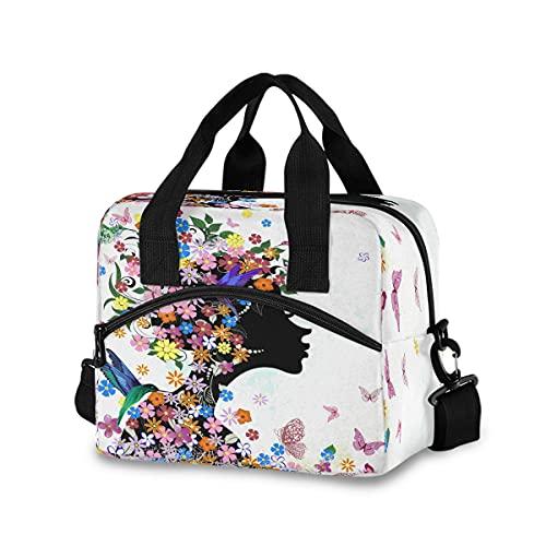 ECHOBU - Bolsa de almuerzo con diseño de mariposa y flores, para mujer, hombre, adulto, oficina, trabajo, picnic, senderismo
