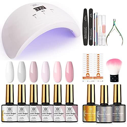 RSTYLE Kit Semipermanente Unghie Completo Professionale in 6 coloris Gel + 3 Base e Top Coat Lampada UV...