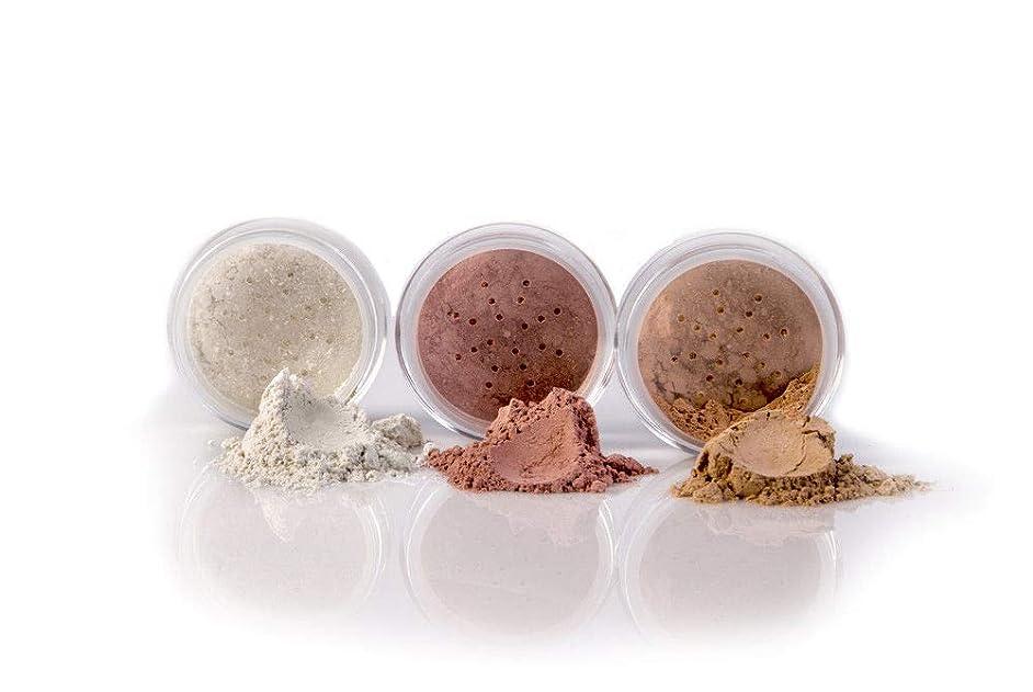 3 pc Kit (FULL SIZE, BEIGE) Mineral Makeup Set Bare Face Sheer Powder Matte Foundation Cover