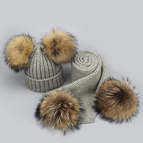 XCLWL muts voor heren, set met muts en sjaal voor herfst en winter, pompons, gebreide muts, haakpatroon, grijs