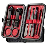 Manicure Set Pedicure Kit Nail Clippers Set 8 in1 High Precision Stainless Steel Cutter File Sharp Scissors for Men & Women Fingernails & Toenails Vibrissac Scissors with Stylish Case (black&red_8in1)