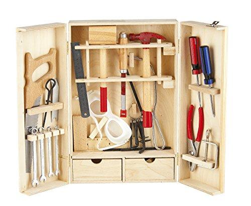 Leomark Deluxe Werkzeug für Kinder - 30-TLG - Holz Werkzeugkasten, Kompakter Werkzeugkoffer, Holzschrank mit Werkzeug, Holzkiste mit Zubehör