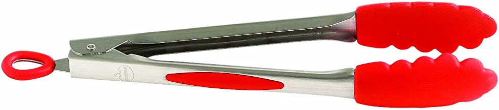 Mastrad 12-Inch Stainless and Silicone Tongs, Red