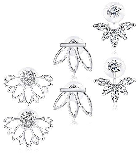 sailimue Joyería 3 Pares Flor de Loto Pendientes Chaquetas para Mujer Niñas Pendientes de botón de oreja simple Conjunto