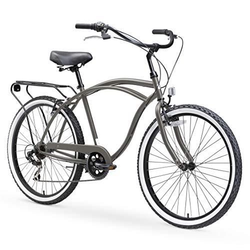 "sixthreezero Around The Block Men's 7-Speed Beach Cruiser Bicycle, 26"" Wheels, Matte Grey with Black Seat and Grips"