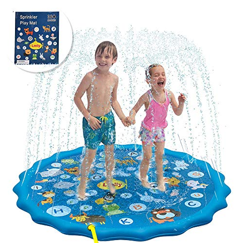 Lmlly Sprinkler Pad for Kids,150cm Sprinkle and Splash Play Mat,Outdoor Water Play Sprinklers Summer Sprinkle Wading Pool, Sprinkler for Kids/ Toddlers/ Babies/ Pets