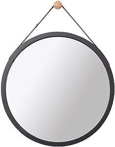 Nordic Wall Round Mirror Espejo de baño, Espejo de baño, Espejo, Espejo de baño, Espejo (Color : Black, Tamaño : 45cm)
