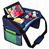DMoose Kids Travel Tray, Toddler Car Seat Lap Activity Tray with Padded Comfort Base, Side Walls, Mesh Snack Pockets, Tablet Holder, Waterproof Car Seat, Stroller, Airplane Play and Learn Area (Blue)