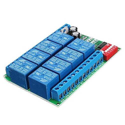 Allamp Módulo de relé de 8 Canales DC 12V RS485, módulo de relé 485 Remoto, Interruptor de Control, PLC for PTZ cámara de Seguridad Supervisión del módulo Herramientas industriales