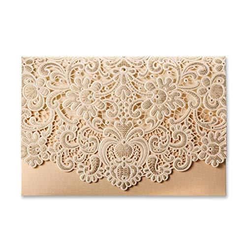 50X WISHMADE bruiloft uitnodigingen horizontale goud lasergesneden uitnodigingen kaarten kits met holle Flora Pearl papier bevorderd blanco bloemen kant design 50 stuks incl. enveloppen en stickers CW072