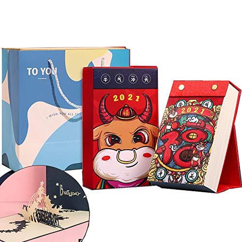 Chinesische Monats Kalender 2021 365 Tage Kalender für das Mondjahr des Ochsen,10x12x17cm,Cartoon Kuhmuster Kalender Schreibtisch für School Home Office Schedule Planner
