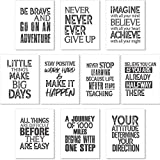 10 Pieces Inspirational Wall Posters Motivational Quote Posters Positive Affirmation Art Posters with 80 Glue Point Dots for Classroom Living Room Office Walls Decorations (White Gray, 8 x 10 Inch)