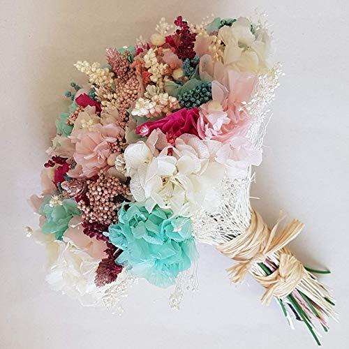 Ramo de novia turquesa, blanco y rosa.