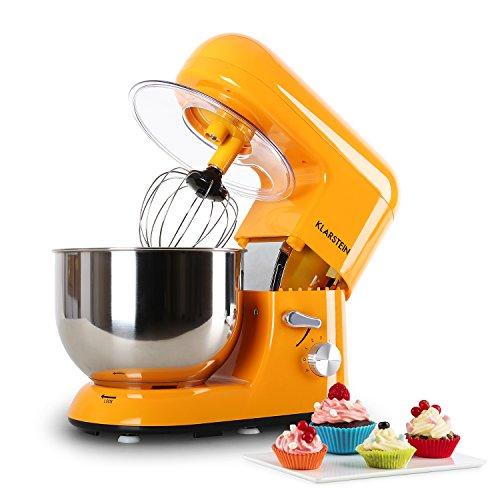 Klarstein Bella Orangina - Robot de Cocina, Batidora, Amasadora, 1200 W, 5,2 litros, 1,6 PS, Batido planetario, 6 Niveles de Velocidad, Recipiente de Acero Inoxidable, Naranja