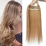 Extension Fil Invisible Cheveux Naturel Epais DOUBLE FIL Transparent a Enfiler Rajout Cheveux Humain Remy Sans Clips (#27 BLOND FONCE, 45 cm (100 g))
